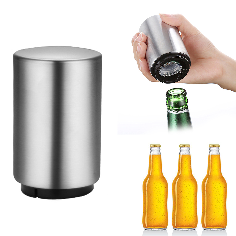 Stainless Portable Magnetic Automatic Bottle Opener Stainless Steel Push Down Wine Beer Openers Set Kitchen Accessories