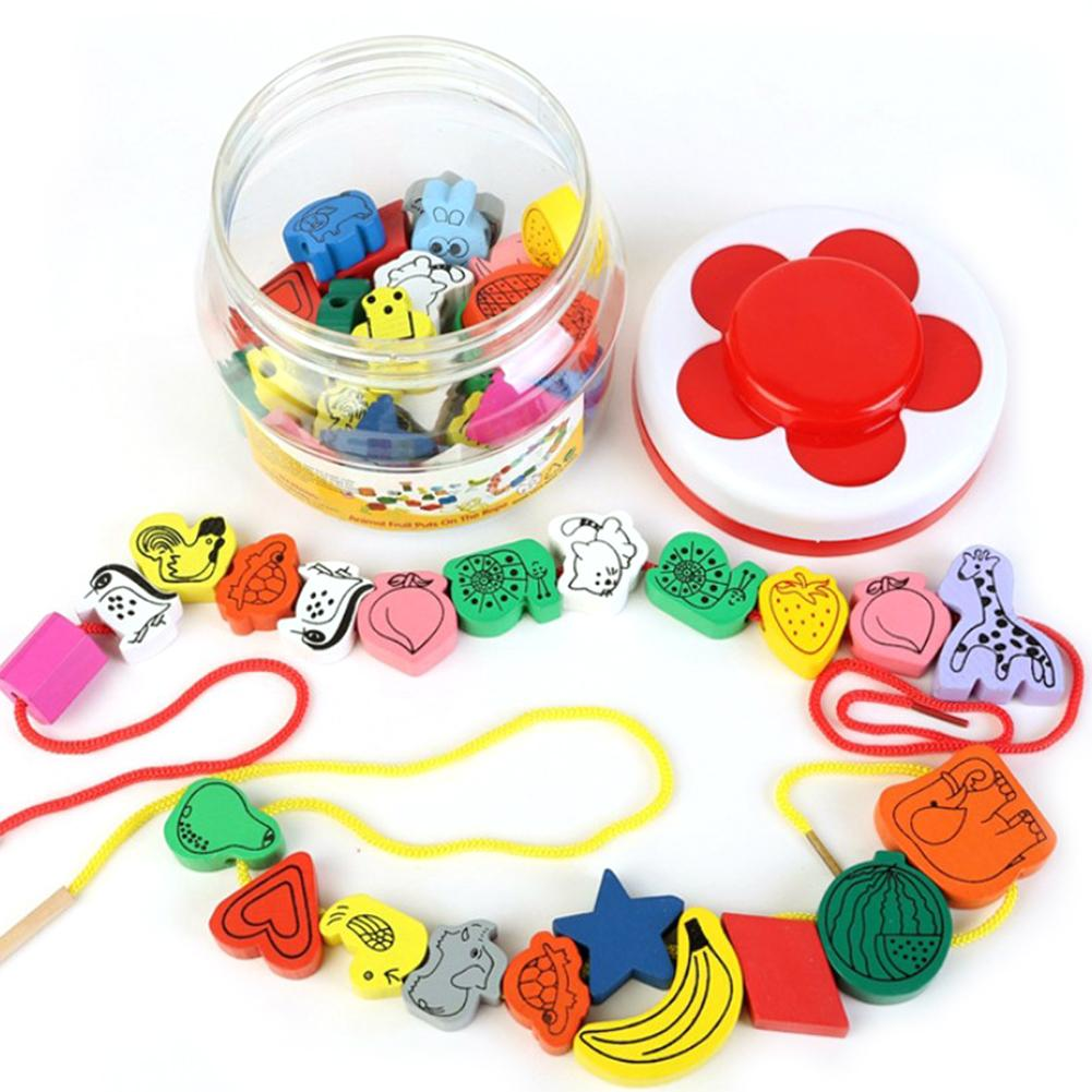 A Jar Of 45 Beads Animal-shaped & Fruit-shaped Beads Bead Stringing Toys Cognitive Educational Toys For Children Babies Infants