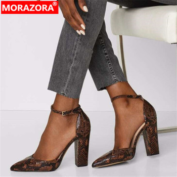 MORAZORA 2020 new arrival women pumps snake pointed toe buckle European style summer dress party shoes ladies high heels