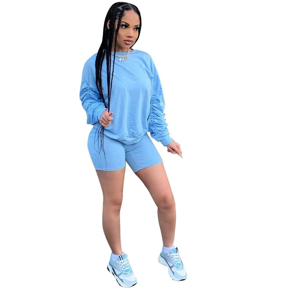 Спортивные костюмы женские полусапожки свитер с длинным рукавом + байкерские шорты комплект, оптовая продажа, тренировочный костюм, компле...