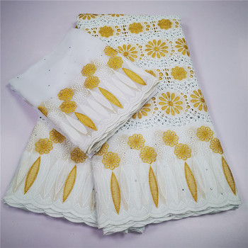 Popular swiss lace fabric white Golden african lace fabric swiss voile lace 7 yards embroidered nigerian lace fabric for dress