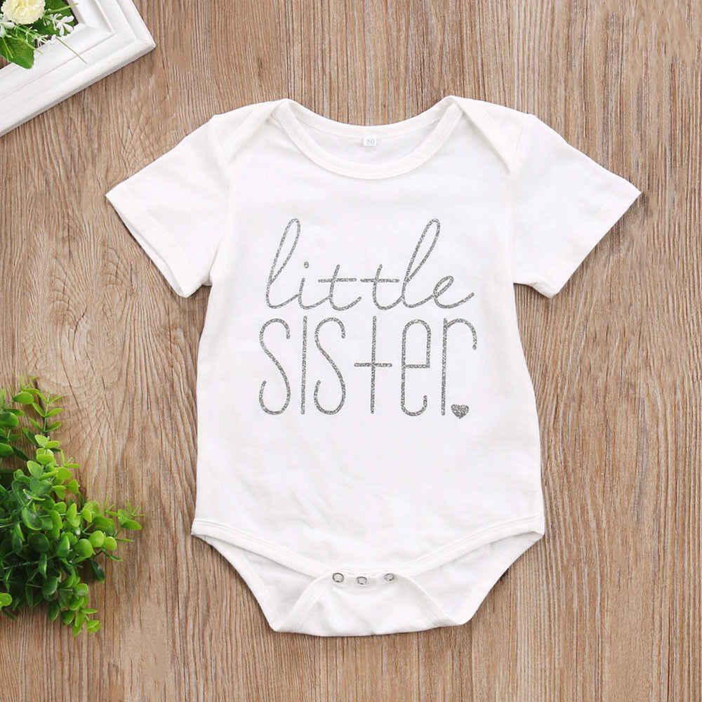 Brother น้องสาวจับคู่เสื้อผ้าทารกแรกเกิดทารกเด็กทารก Little Sister Rompers เด็กวัยหัดเดินเด็ก Big Brother เสื้อยืดลำลองเสื้อผ้า