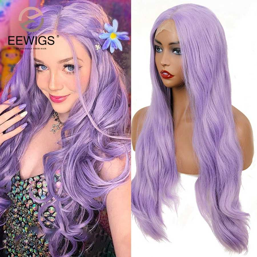 EEWIGS Light Purple Wig Heat Resistant Natural Straight Synthetic Lace Front Wig with Baby Hair Glueless Lavender Wigs for Women