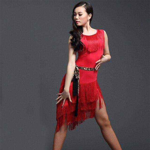 Đỏ Nhảy Latin Đầm Trưởng Thành Luyện Tập Nhảy Latin ĐẦM TUA RUA 1 Dess Cho Nữ Bóng Tango Cha Cha Cha vũ Trang Phục