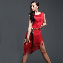 Vermelho vestido de dança latina prática adulta vestido de dança latina borla uma peça dess para as mulheres de salão de baile tango cha cha trajes de dança