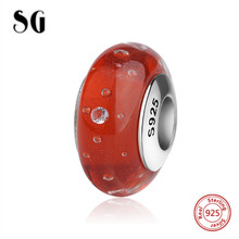 SG new arrival red sparkling Murano glass beads sterling silver 925 charms fit original pandora bracelets jewelry women gifts