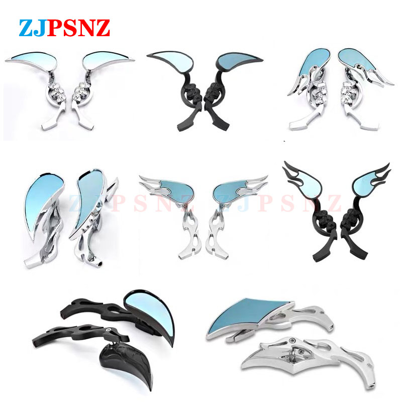 8mm 10mm Motorcycle Rearview Mirror Flame Skeleton Skull Head Scooter Cruiser Moped ATV Motorcycle Refit Back View Mirror