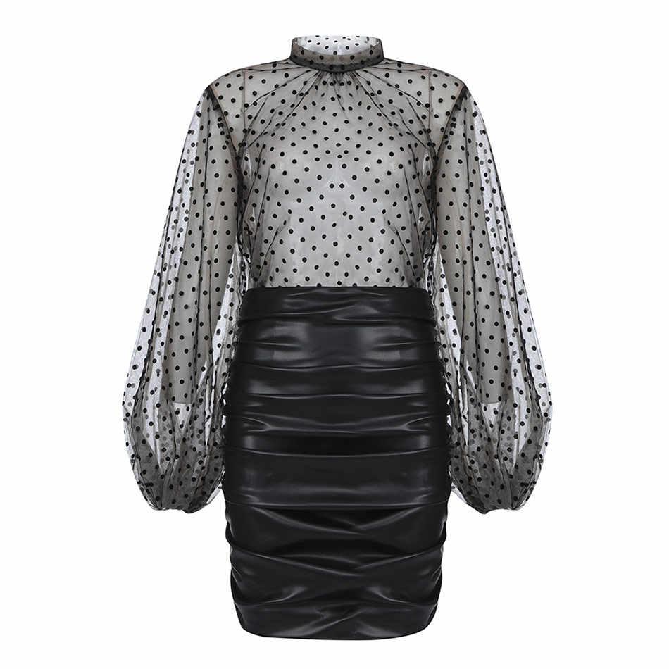 2020 nowy seksowny zestaw damski Polka Dot z długimi rękawami siatkowy Top i Pu skórzana spódnica ołówkowa 2 dwuczęściowy Fashion Club Party zestaw spódnic