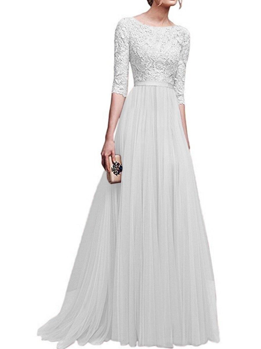 SD171W-Autumn And Winter 2019 New Evening Dress Chiffon 5-sleeve Dress