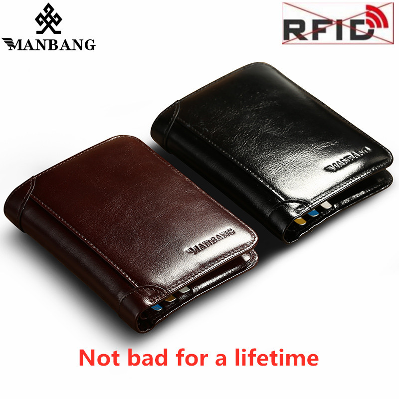 ManBang High Quality Classic Style Wallet  Leather Men Wallets Short Male Purse Card Holder Wallet Men Prevent RFID Hot Wallets