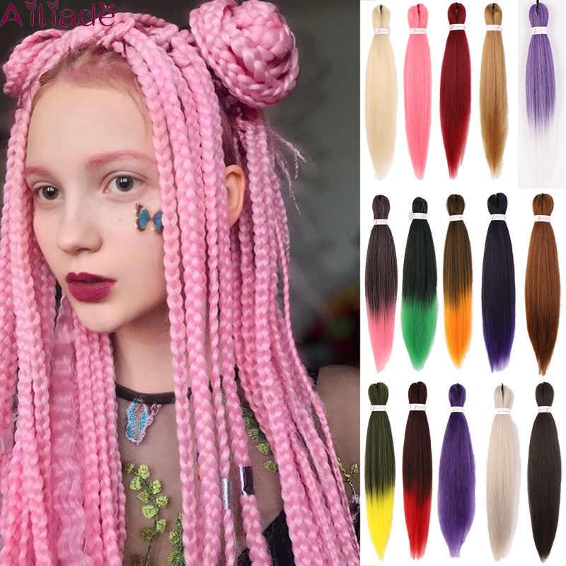 """Ailiade Hittebestendige Synthetische Pre Uitgerekt Jumbo Vlechten Haar Ombre Roze Vlechten Haar Kanekalon Haak Hair Extensions 26"""""""