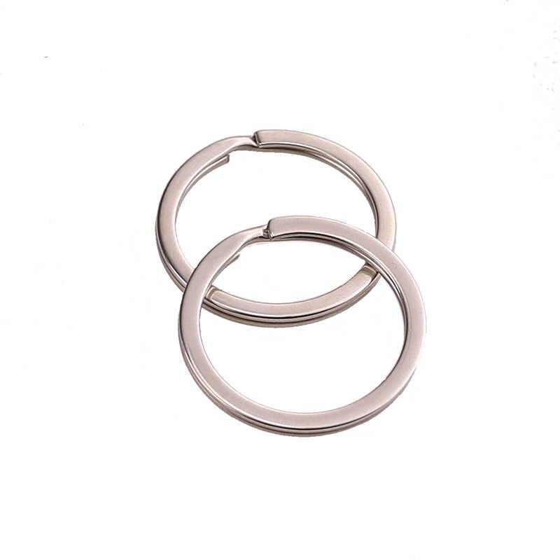 10 teile/los Edelstahl Loch Schlüssel Ring Schlüssel Kette 20/23/25/28/30/33/35mm Frauen Stahl Runde Split Nette Keychain Geschenke für Männer