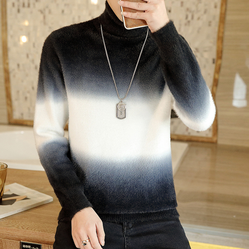 2019 Autumn New Tide Male Fashion Turtleneck Gradient Ferret Wool Sweater Knit Teenagers Cultivate One's Morality