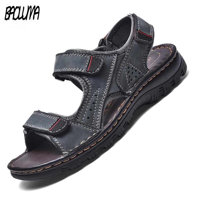 Fashion Mens Gladiator Sandals Summer Outdoor Comfortable Mens Sandals Handmade Men Beach Sandals Soft Bottom Men's Sandals 48