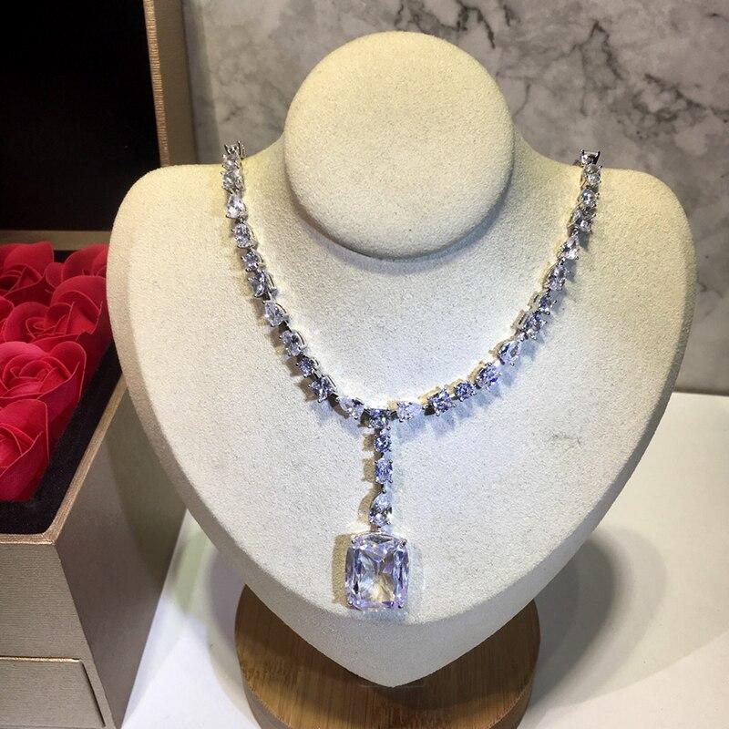 925 bijoux en argent Sterling élégant forme carrée collier en argent romantique coloré cristal gemme pierre pendentif Fine personnalisé bijoux - 4