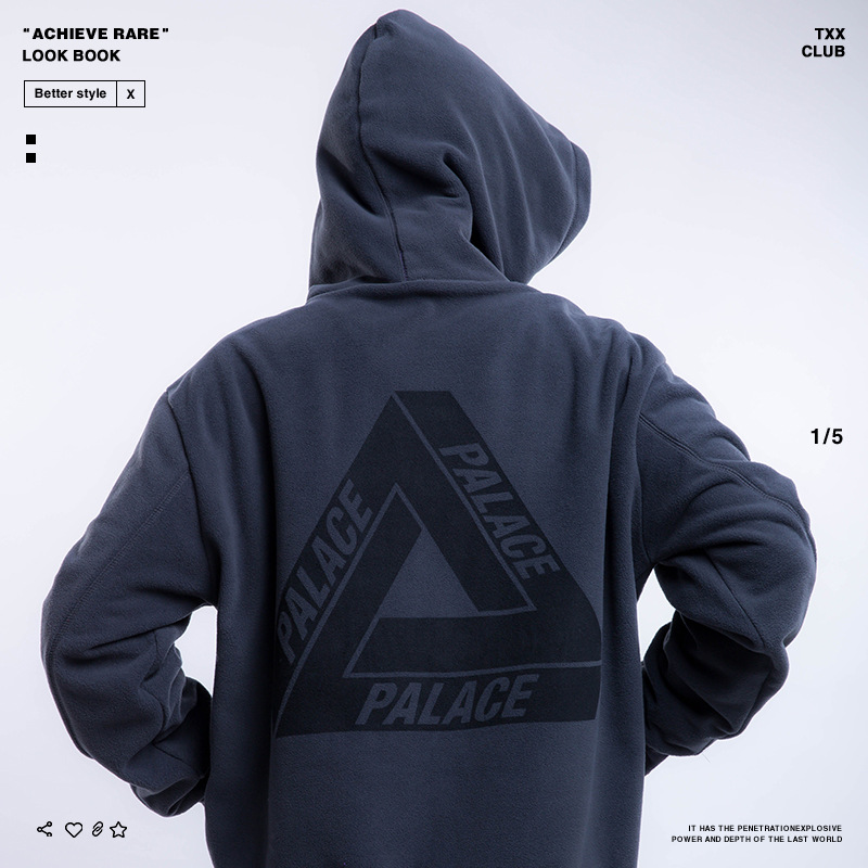 Palace Life Europe And America Popular Brand Autumn And Winter New Style Men'S Wear Triangle Suede MEN'S Hoodie