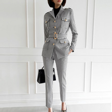 2019 New Arrival Dropshipping Singer Button Blazer with Sashes and Sheath Pants Print Houndstooth Winter Two Piece Set for Femme недорого