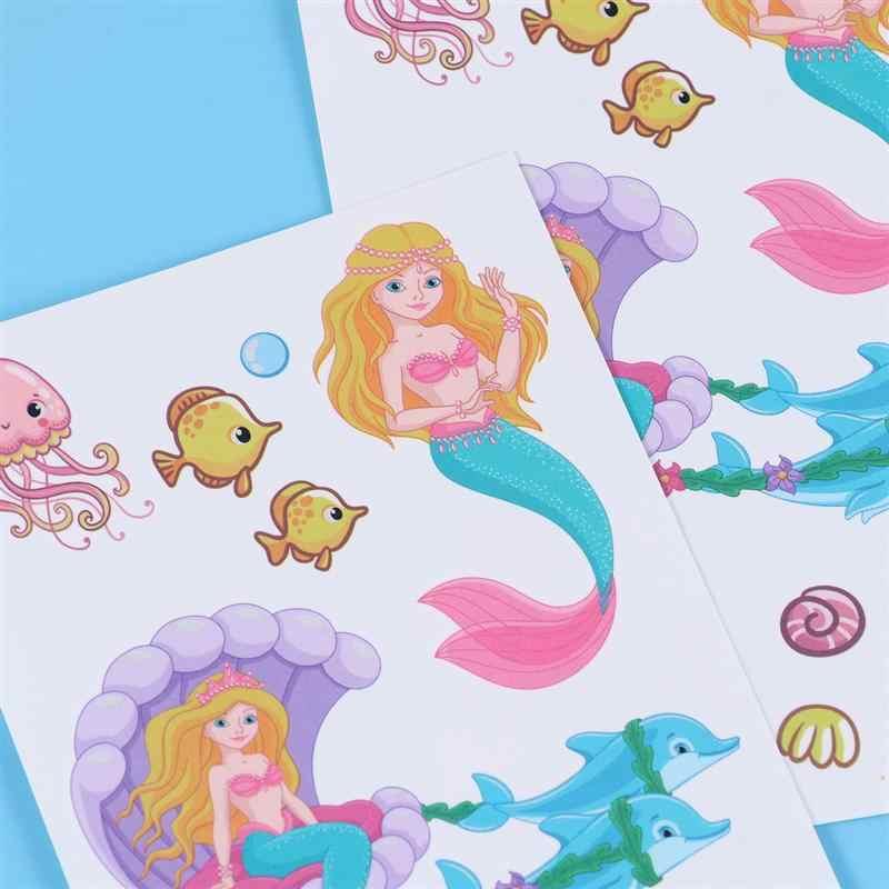 12 yaprak dövme etiket sevimli denizkızı desen su geçirmez geçici dövme etiket karikatür etiket dekorasyon çocuklar parti