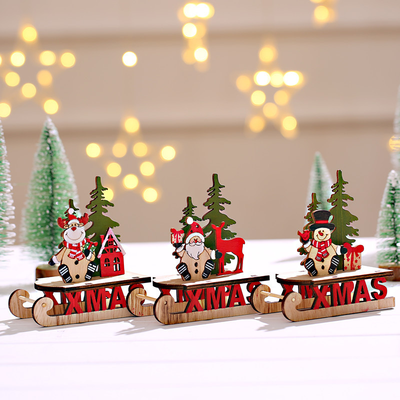 1PC Christmas DIY Santa Claus&Snowman&Deer Sled Wooden Ornaments Wood Craft Christmas Table Decorations Kids Gift For Home Party