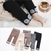 Милые обтягивающие штаны для маленьких девочек, теплые эластичные леггинсы с принтом лисы, осенне-зимняя одежда для новорожденных
