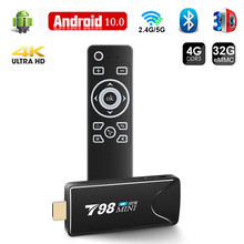2021 4K TV Stick T98 MINI Smart TV Box Android 10 4GB 32GB RK3318 Quad-Core 2.4G/5.8G WIFI Android TV Stick Google Play Store