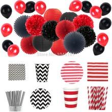 Ipalmay vermelho preto halloween festa decoração & utensílios de mesa pratos de papel copos palhas guardanapos de papel de tecido pom pom lanternas