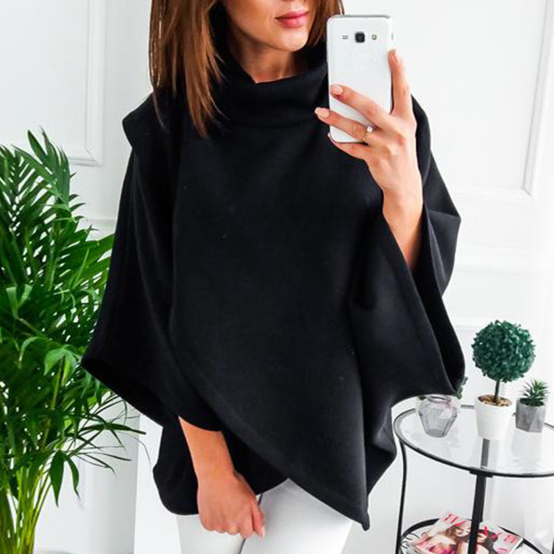 2019 Fashion Tops Womens Solid Color Large Size Loose Cloak Turtleneck Sweater Irregular Batwing Sleeve Loose Shirts