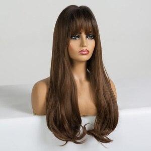 Image 2 - ALAN EATON длинные волнистые синтетические парики с челкой для черных женщин афро американские Омбре черные коричневые Косплей Жаростойкие волосы