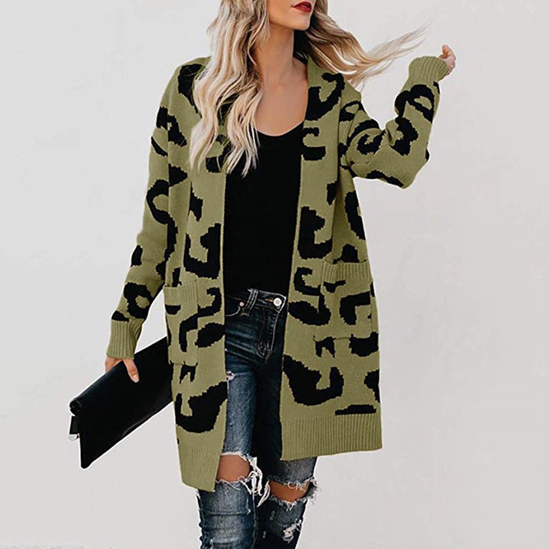 Large size women 39 s sweater 2019 thick sweater long section long sleeve double pocket leopard cardigan women 39 s sweater in Cardigans from Women 39 s Clothing