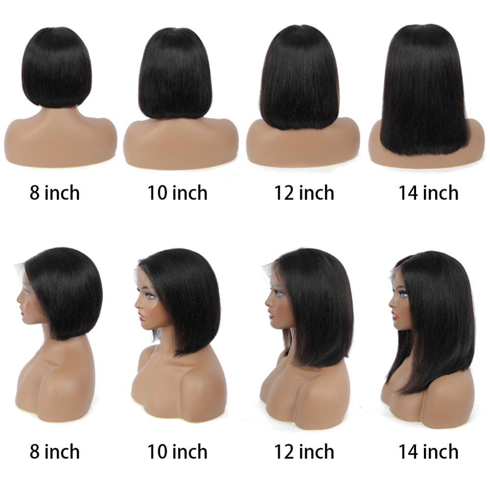 Straight Short Bob Lace Front  Wigs 13x4  Bob wig PrePlucked  HD Full Hair Frontal Wigs 5