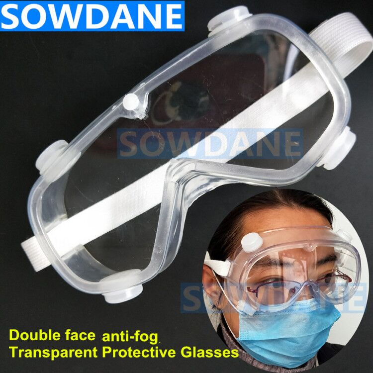 Dental Transparent Protective Goggles Glasses Double Faces Anti-Fog Antisand Windproof Anti Virus Anti Chemical Splash Safety