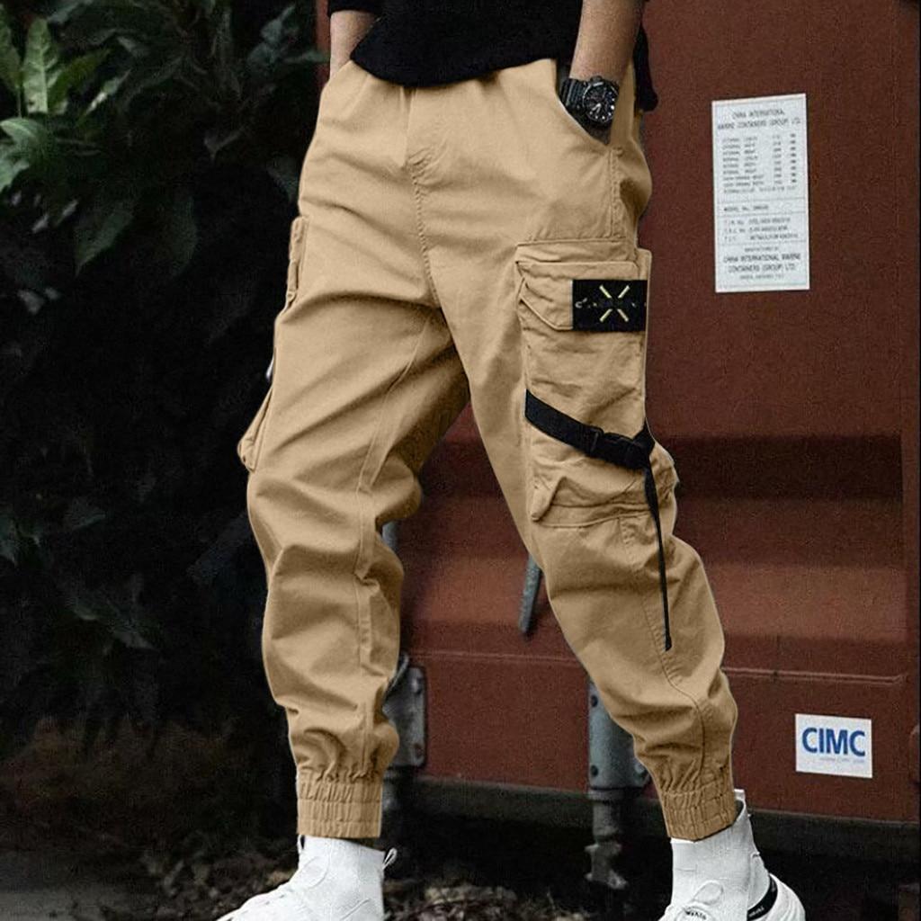 Pants Men Streetwear Pantalones Sweatpants Hip Hop Pantalon Homme Tactical Pants Spodnie 2019 Casual Pure Colour New штаны Z4