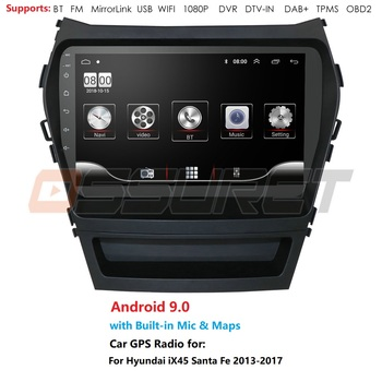 2 Din 9 inch Android 9.0 1GB+16GB Car Multimedia Player For 2013-2017 Hyundai Santafe IX45 GPS Navigation Radio Mirror link TPMS image