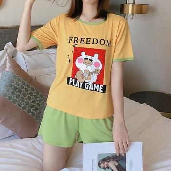 Hot sale Summer Shorts Pajama Sets for Women Short Sleeve Sleepwear Cute Girls Cartoon Pyjama Homewear Pijama Mujer Home Clothes 32