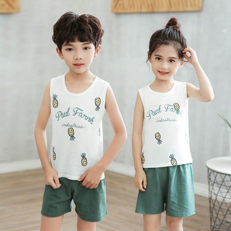 Kids Clothes Summer Children Pajamas Sets Baby Girls Boys Cartoon Sleepwear Cotton Vest+Pants Clothing Suit Toddler Pyjamas Kids 2