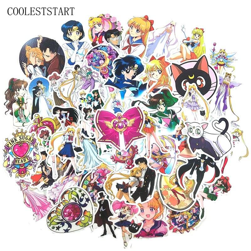 50Pcs/set Cartoon Sailor Moon Stickers For Vsco Girl Motorcycle Skateboard Laptop Refrigerator Suitcase Diary Gift Anime Sticker