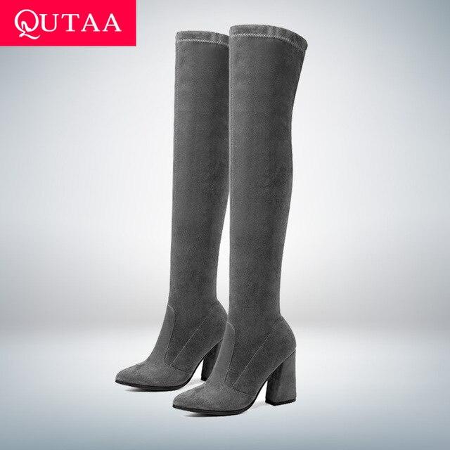Qutaa 2020 Vrouwen Over De Knie Hoge Laarzen Mode Alle Match Puntschoen Winter Schoenen Elegant Alle Match Vrouwen Laarzen maat 34 43