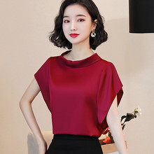 Korean Silk Blouses Women Satin Shirt Tops Plus Size Women Short Sleeve Loose Blouse Shirts Blusas Mujer De Moda 2020 Women Tops