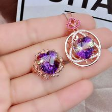 Ring-Suit Necklace Ametrine-Fine Jewelry-Set 925 Wedding Natural Pure-Silver Women Love