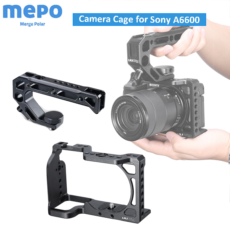 Aluminum Protective Frame Vlog Photography Camera Cage For Sony A6600 With Top Handle 1/4 3/8 Srew Hole For LED Light Microphone