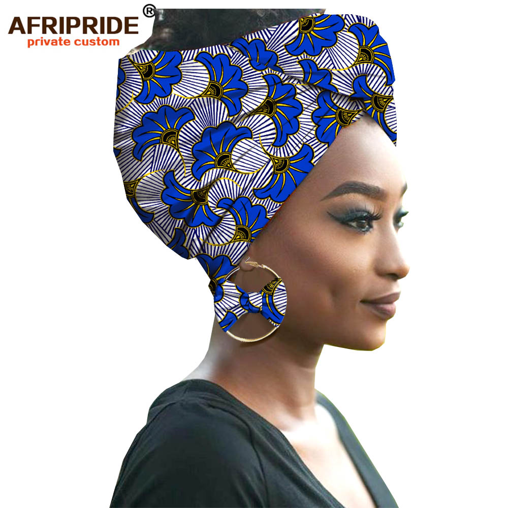 2019 Fashion African Headwraps+earings 2 Piece Sets For Women Bazin Riche African Head Scarf Pure Cotton A19H002 AFRIPRIDE