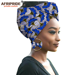 2019 fashion african headwraps+earings 2 piece sets for women bazin riche african head scarf pure cotton A19H002 AFRIPRIDE(China)