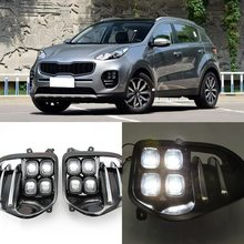 Luz antiniebla LED de coche lámpara de luz diurna conjunto para KIA Sportage QL Kx5 2016-2017
