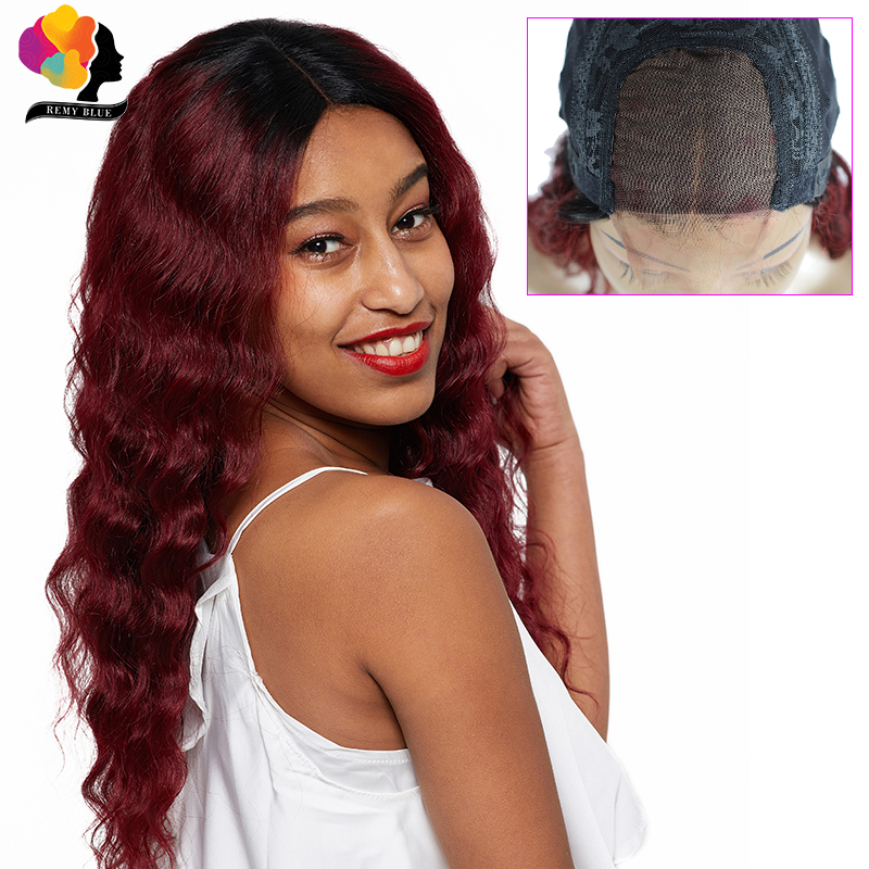 Remyblue T1B 99J Ombre 4*4 Peruvian Loose Deep Wave Lace Wigs Burgundy Red Lace Closure Human Hair Wigs Glueless Remy Lace Wigs