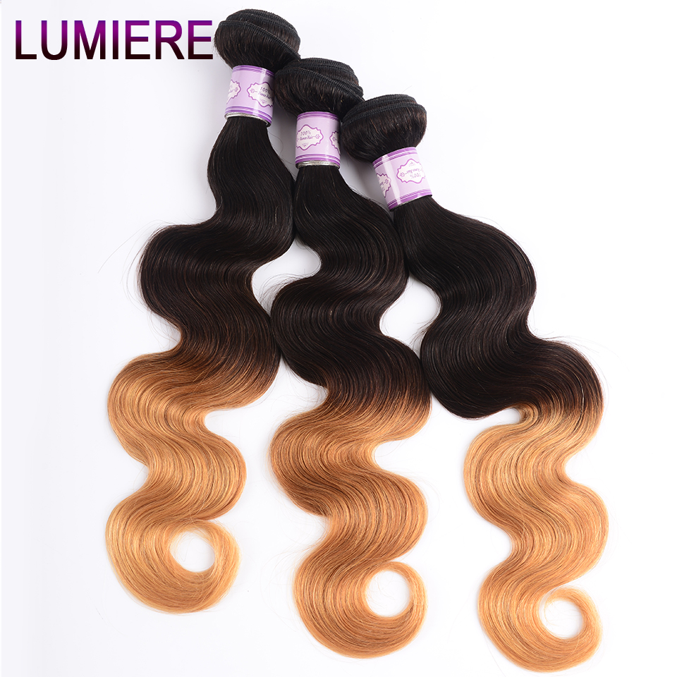 Image 4 - Lumiere Hair Ombre Brazilian Hair Weave Bundles Body Wave 3 Tone T1B/4/27 Non Remy Ombre Human Hair Bundles Can buy 3/4 Bundles-in Hair Weaves from Hair Extensions & Wigs