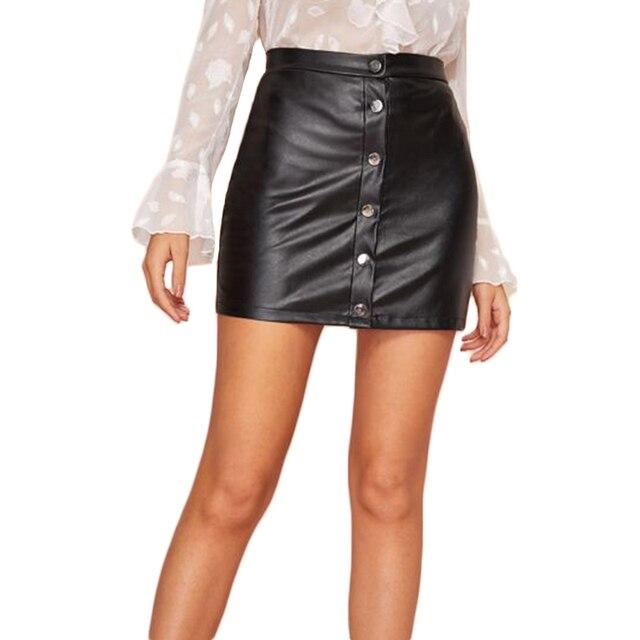 Σούπερμίνι μαύρη φούστα με μεταλλικά κουμπιά Φορέματα Ρούχα MSOW