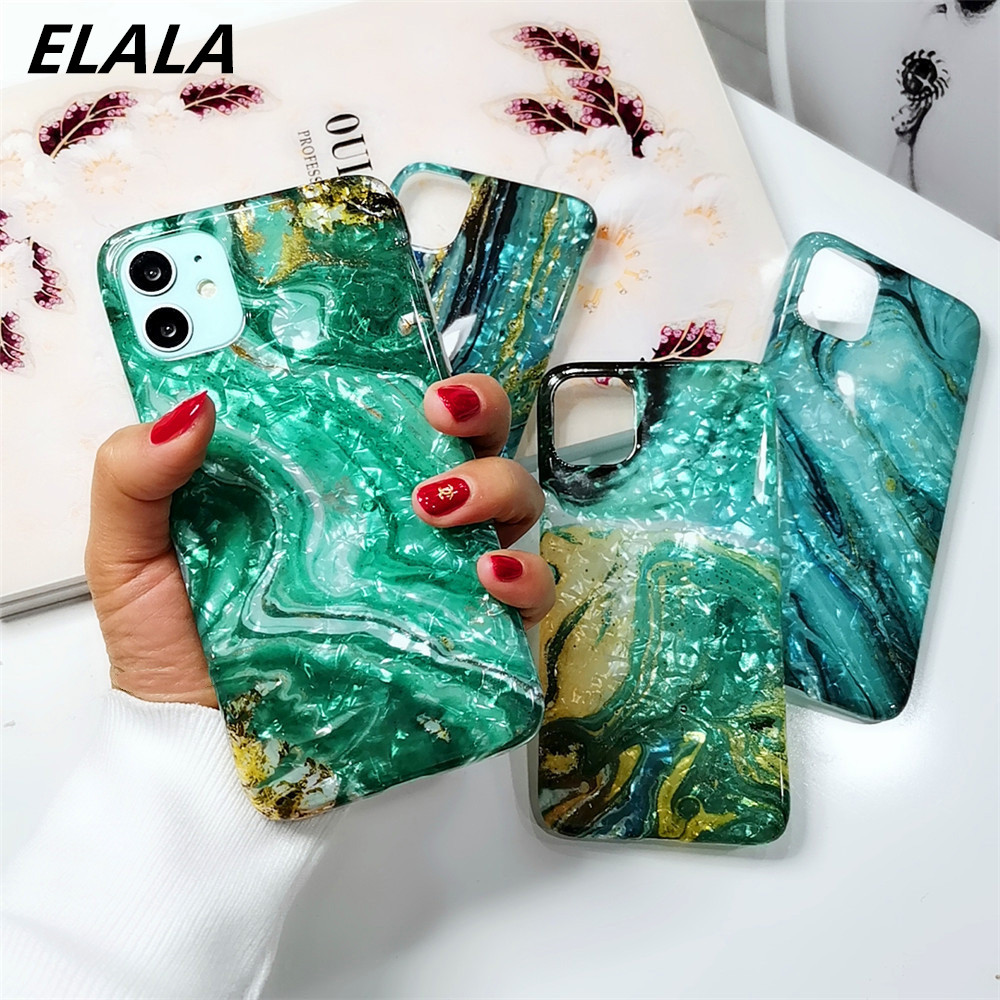 Glossy Marble Case For iphone XR Cases Glitter Pattern Conch Shell Silicon Cover For iPhone 6s 7 8 Plus X XR XS Max 11 Pro Coque