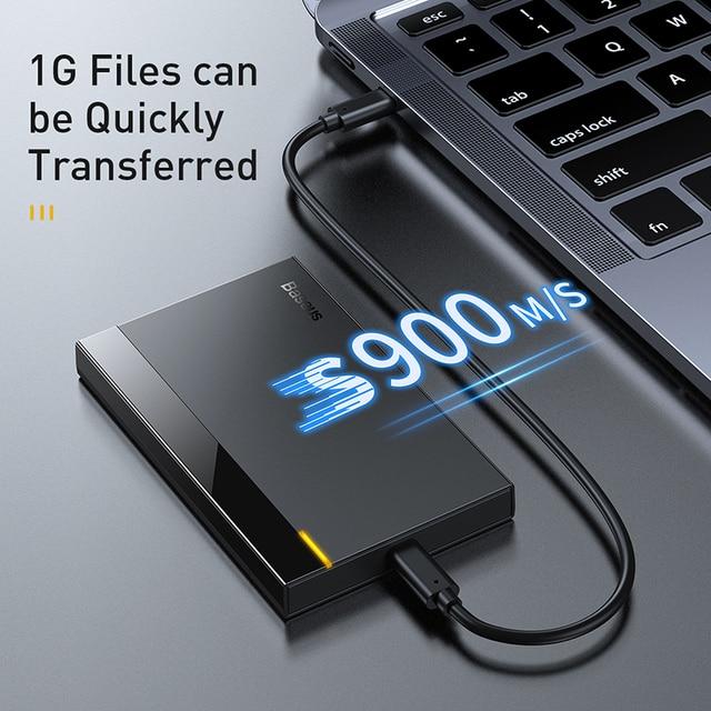 Baseus Caso HDD 2.5 SATA a USB 3.0 Adattatore Hard Disk Caso BOX E ALLOGGIAMENTI PER HDD Per SSD CASO di Tipo C 3.1 HDD box HD Esterno HDD Caddy 2