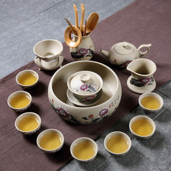 Chinese Style Retro Kung Fu Tea Set Teapot Cover Bowl Tea Cup Lotus Set Gift Box Japanese Style Coarse Ceramic Gaiwan set