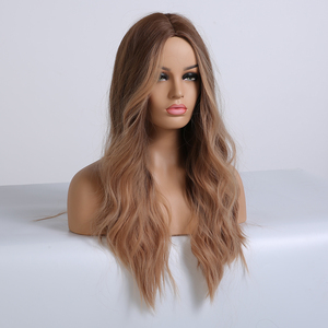 Image 4 - ALAN EATON Ombre Long Brown Red Wavy Wigs for Women Synthetic Wigs Cosplay Party False Hair Hightlight Middle Part Wigs